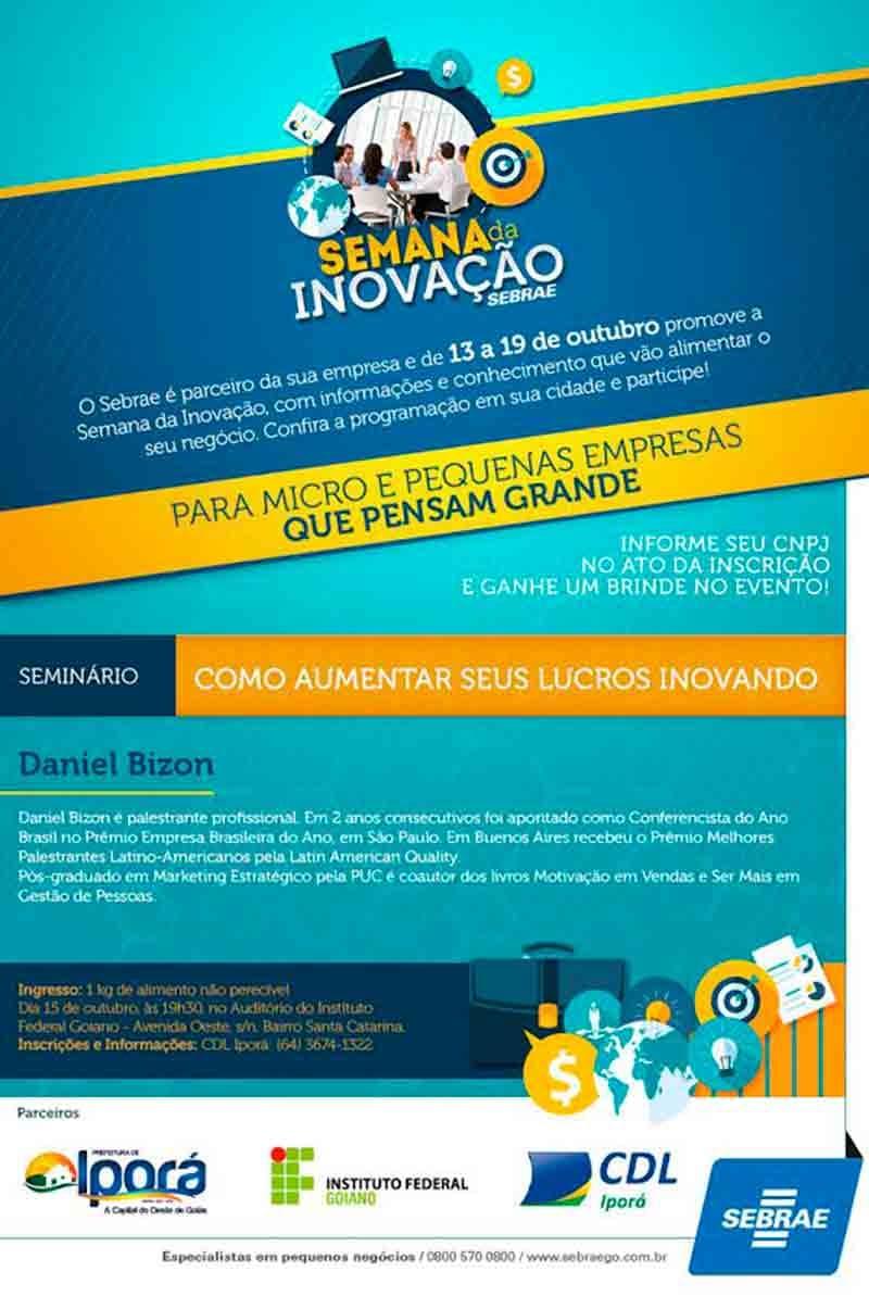 Daniel Bizon na programação da Semana da Inovação Iporá GO