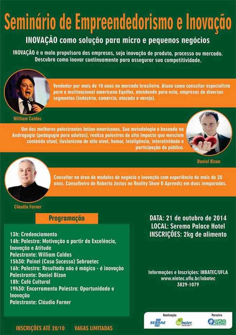 Palestrantes da programação do Seminário de Inovação UFLA