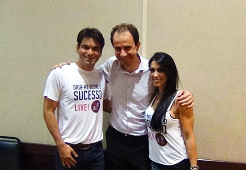 Daniel Bizon com Bella Falconi e Luciano Bruno em Uberlândia