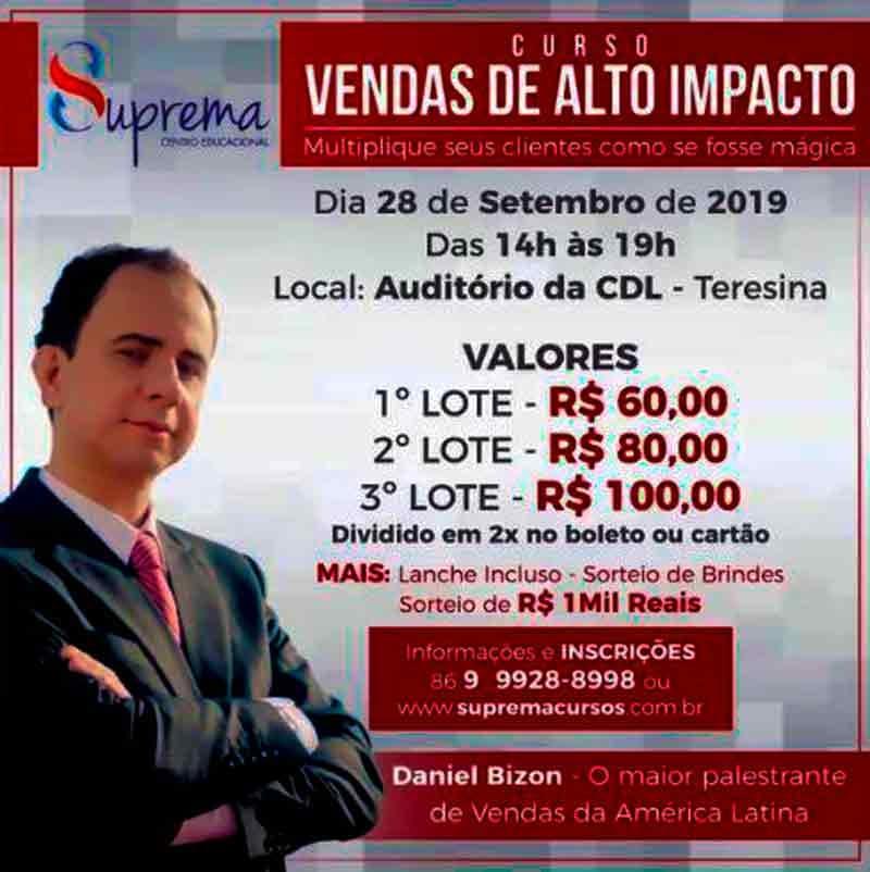 Treinamento de vendas com Daniel Bizon em Teresina