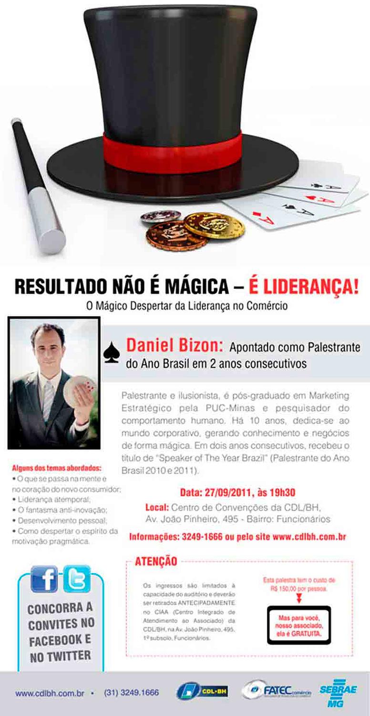 Anúncio da palestra de inovação com Daniel Bizon na CDL BH